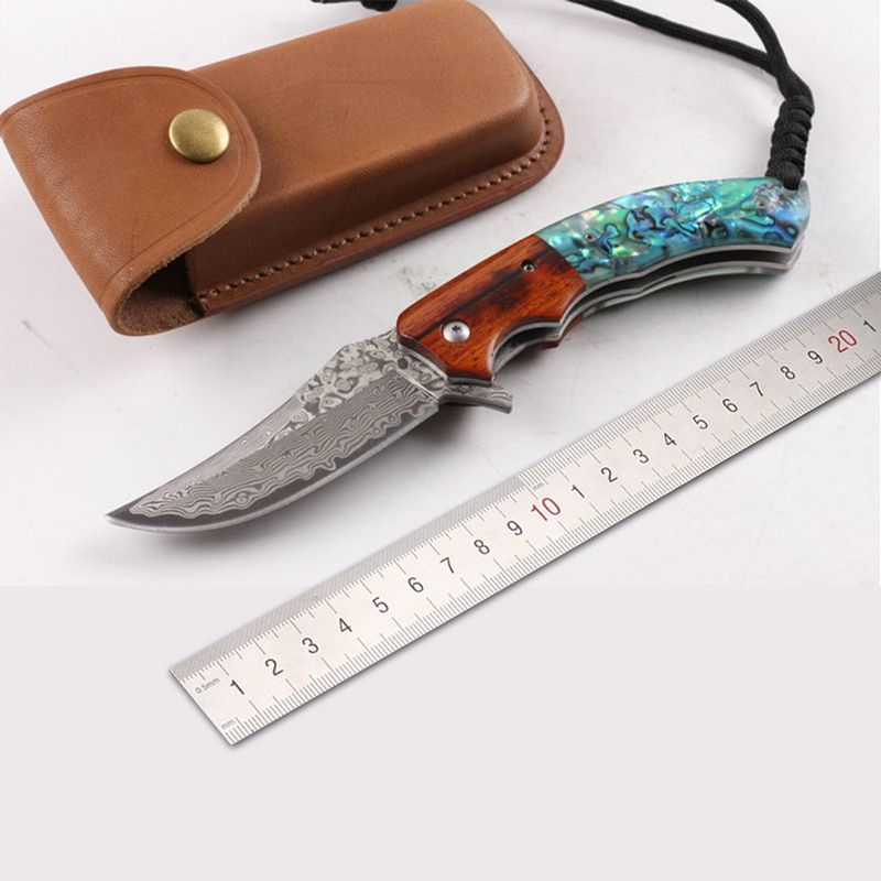 MARS MADAM Free shipping New style The handle shell Pure manual Damascus knife Pattern steel folding knife Exquisite gift
