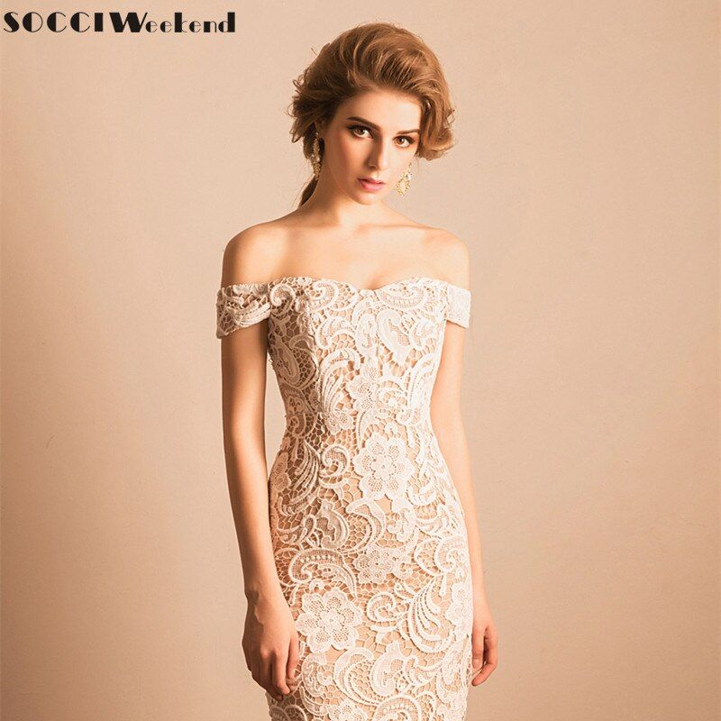 SOCCI Weekend Little White Dress 2017 Lace Cocktail Party Dresses Elegant Women Sexy Off Shoulder with Beige Lining Robe de