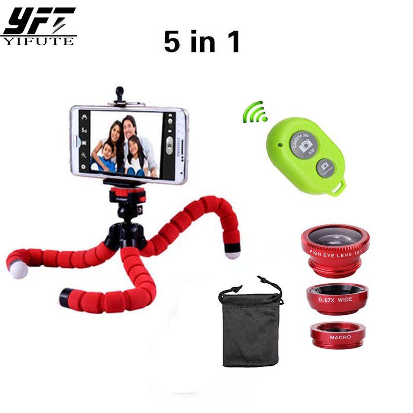 YIFUTE 5in1 Kamera Objektiv Kit Fisheye Fischaugen-objektiv Bluetooth shutter Stativ für iPhone 7 objektiv 5 6 Handyhalter für Xiaomi 4 Objektiv