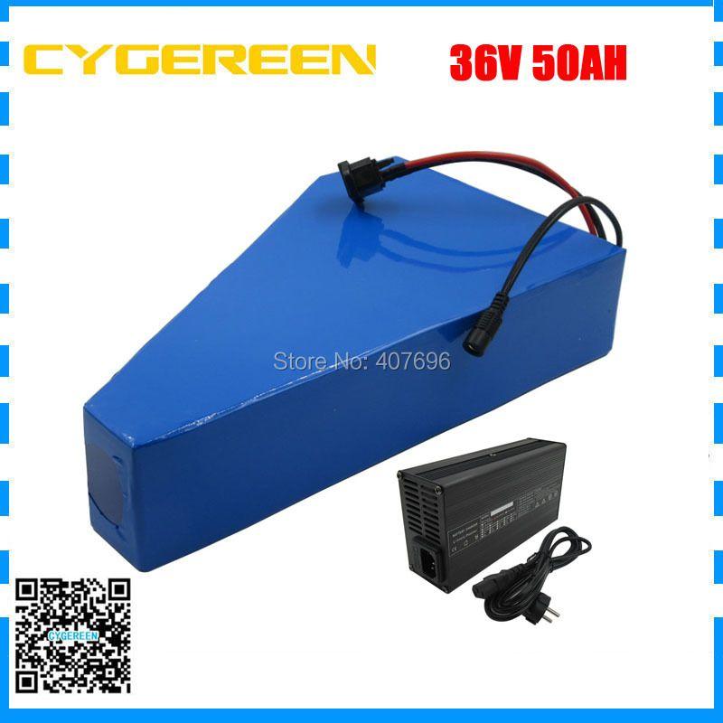 1500 W 36 V 50AH lithium-batterie 36 V dreieck elektrische fahrrad batterie mit freies tasche verwenden 3,7 V 3500 mah 35E zelle 50A BMS 5A Ladegerät