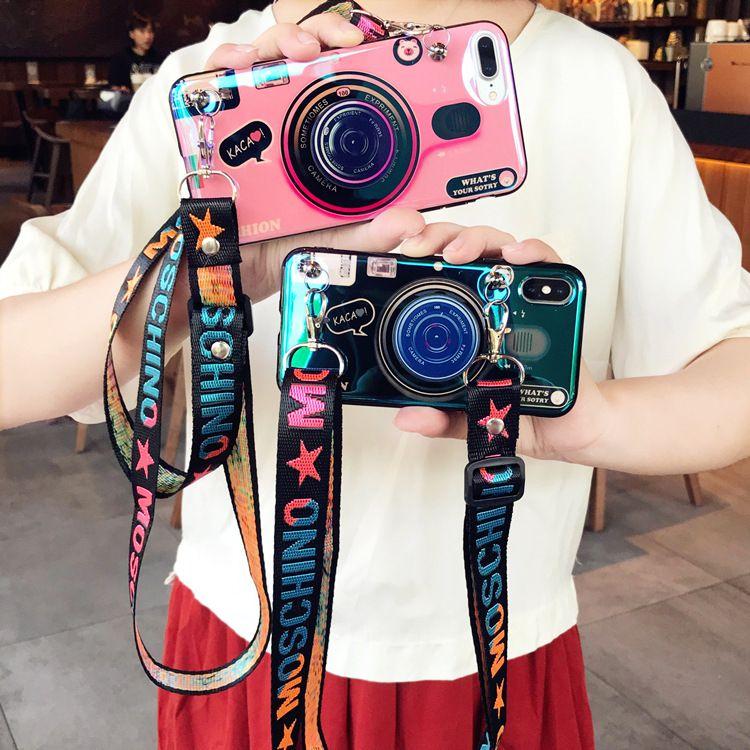 Cute Crossbody Lanyard Kickstand Phone Case Coque for Samsung S8 S8Plus S9 S9Plus S7 S7edge Note 8 Note 9 Retro Camera Silicone