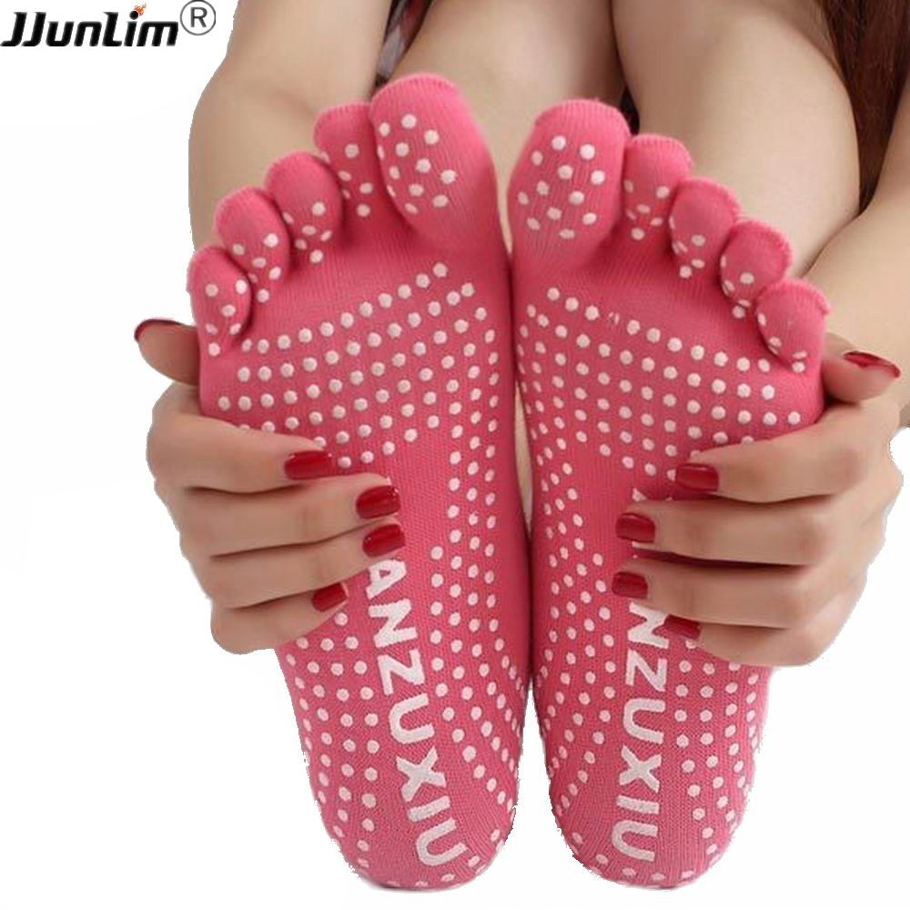 Frauen professionelle Yoga socken Nicht-slip Frauen fünf finger Zehe Socken Sportlich Sport Pilates Massage Socken Freies Verschiffen