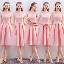 Vestido De Noiva New Pink Bridesmaid Dress Tea length Satin V neck Elegant Cheap Prom Graduation Party Formal Gown Custom Colors