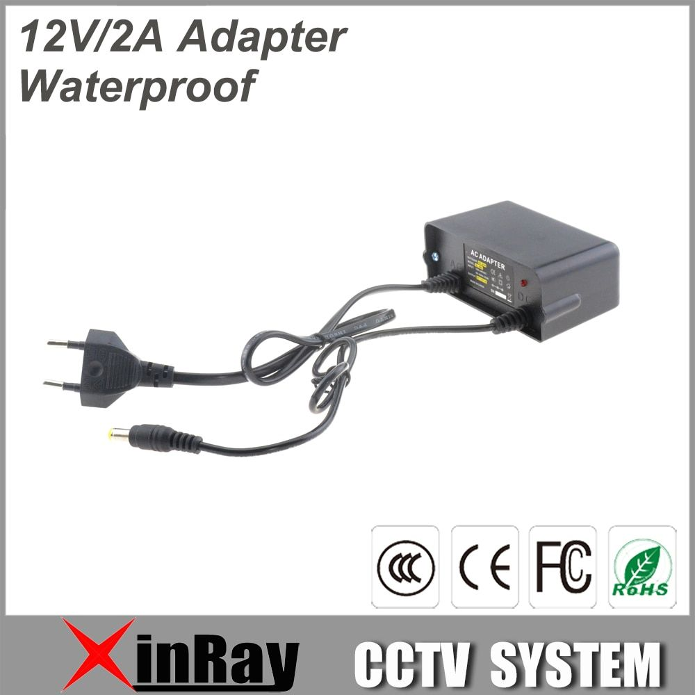 New Waterproof Power Adapter DC12V 2A Power Supply For CCTV Camera Wall Hanging Outdoor Power Adapter XR-PA3