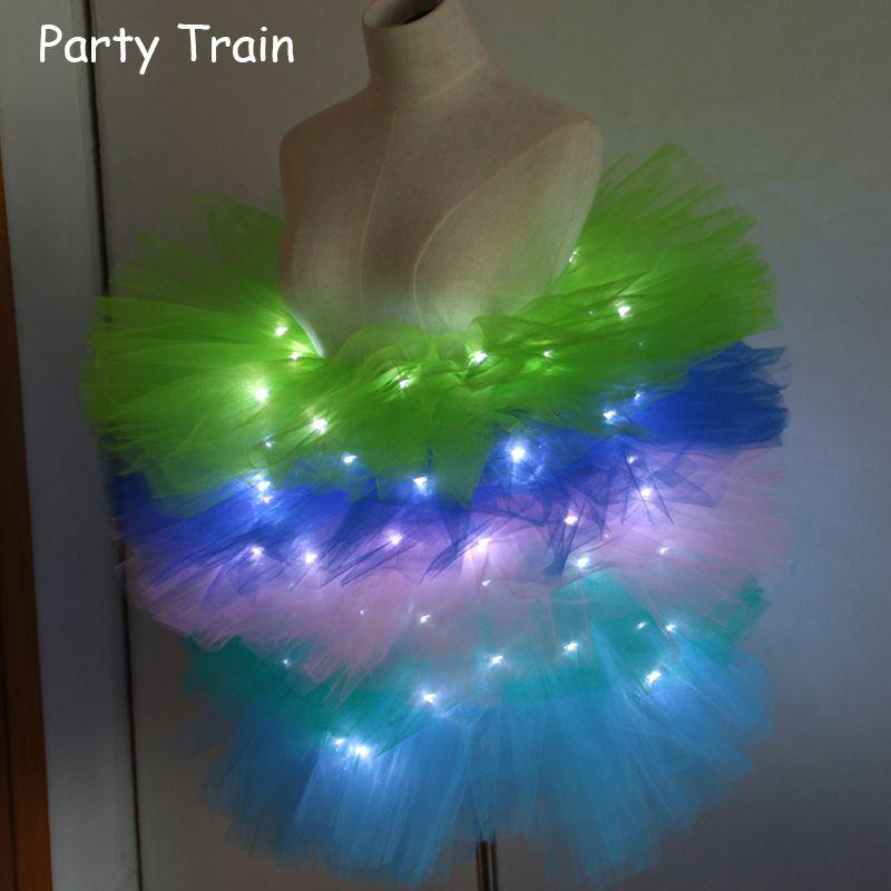 2018 вуаль Твердые органзы модная танцевальная привело пачка мини-юбка Up Neon фантазии Радуга костюм для взрослых легкий корсет Saia