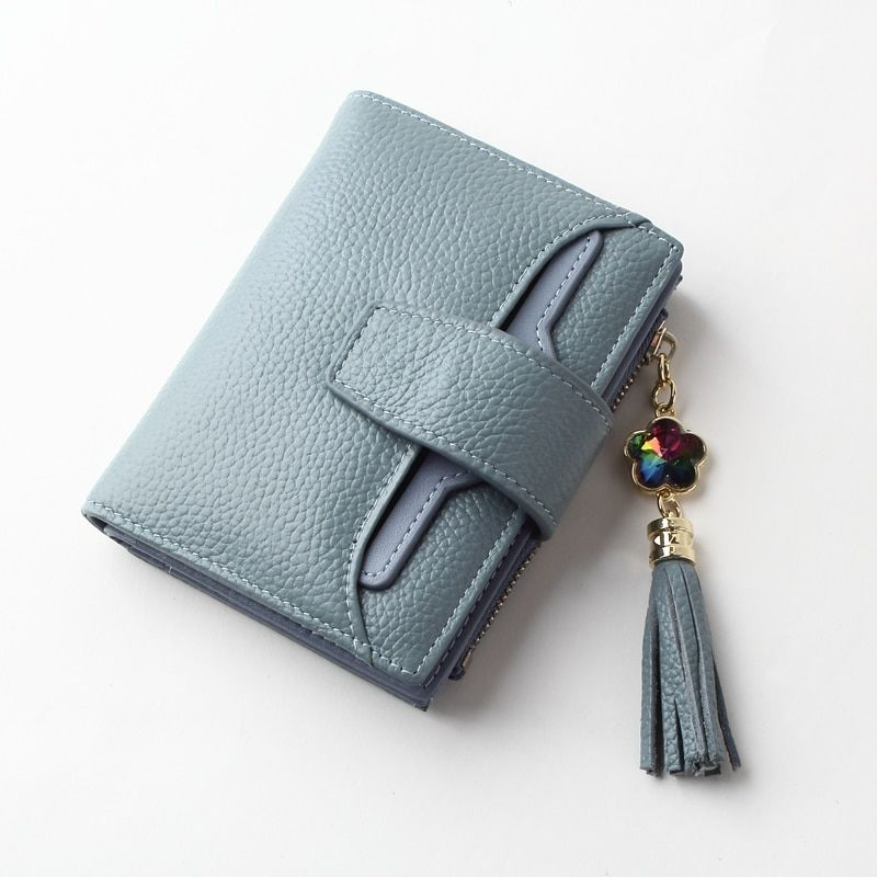 Amasie Hardware Charm Wallet with Jewel Small Wallet Purse Pocket Sac Genuine Leather Classic Small Card Purse for Women EGT0136