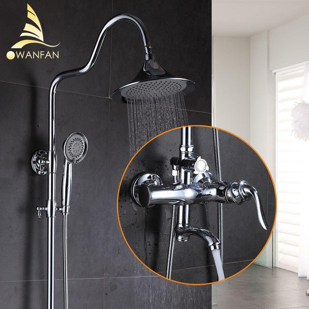 Shower Faucet Brass Chrome Wall Mounted Bathtub Faucet Rain Shower Head Square Handheld Slide Bar Bathroom Mixer Tap Set 877006