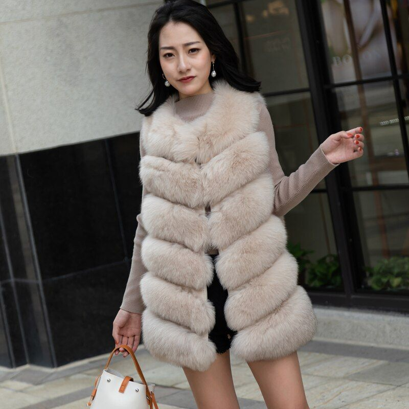 Luxury Real Fox Fur Vests For Women Natural Fox Fur Sleeveless Coat Fashion Style Fur Jacket Women Waistcoat Autumn Female Outwe
