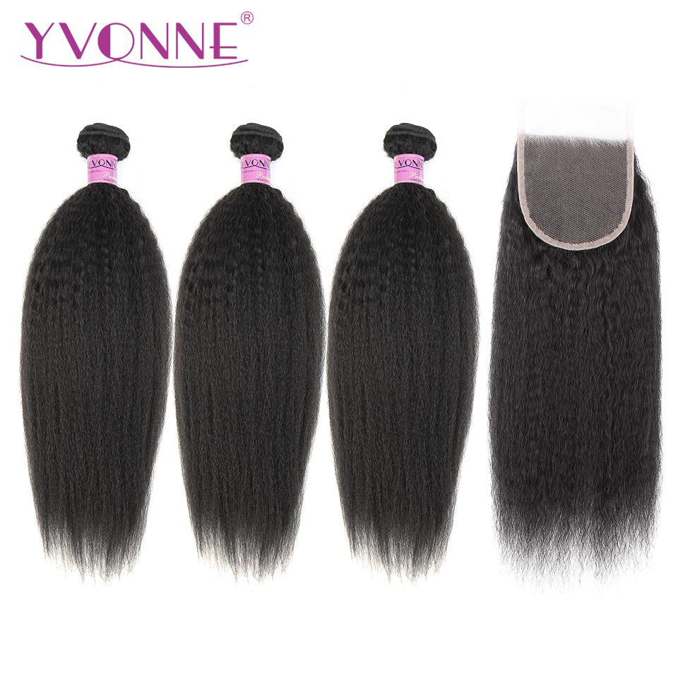 Yvonne Kinky Straight Human Hair Bundles With Closure 3 Bundles Brazilian Virgin Hair Weave With Lace Closure 4x4