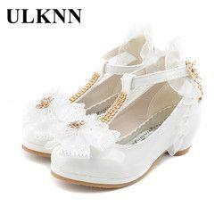 ULKNN Anak Partai Sepatu Kulit Gadis PU Rendah Heel Lace Bunga Gaun anak-anak Untuk anak Perempuan Sepatu Tunggal Menari sepatu Putih Pink