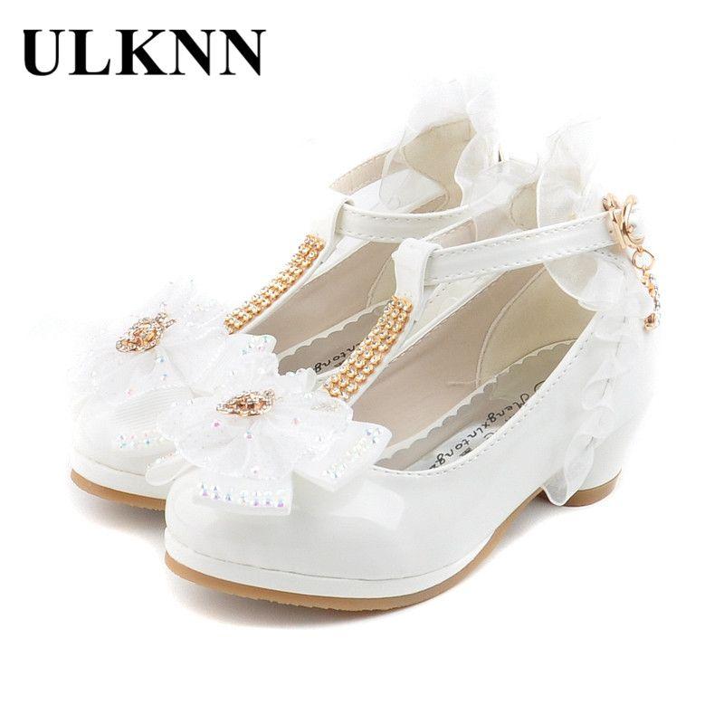 Ulknn niños partido Zapatos de cuero Niñas pu talón bajo Encaje flor Zapatos para Niñas solo Zapatos danza zapato blanco rosa