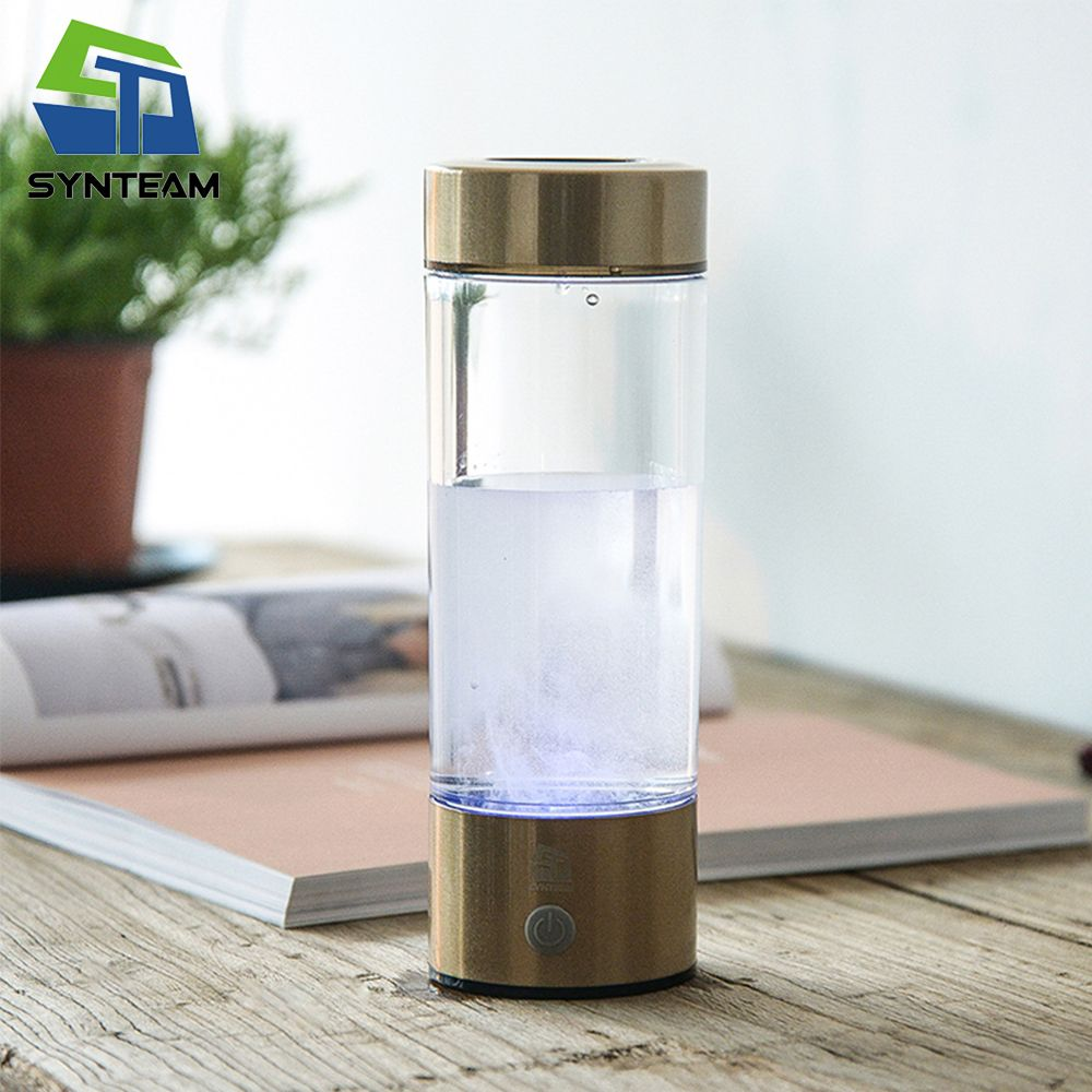 SYNTEAM Brand Hydrogen Water Generator Alkaline Water Maker Rechargeable Portable Water Ionizer Bottle 400ml USB Line WAC007