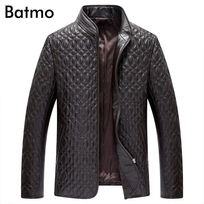 Batmo 2017 новое поступление 100% натуральный кожаная куртка мужская, овчины Повседневный пиджак для мужчин, размер L, XL, XXL, XXXL, XXXXL