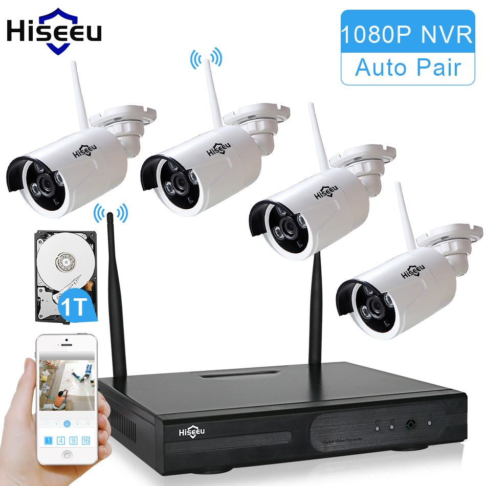Hiseeu Wireless CCTV System 960P 4ch Powerful Wireless NVR 1TB HDD  IP Camera IR-CUT CCTV Home Security System Surveillance Kits