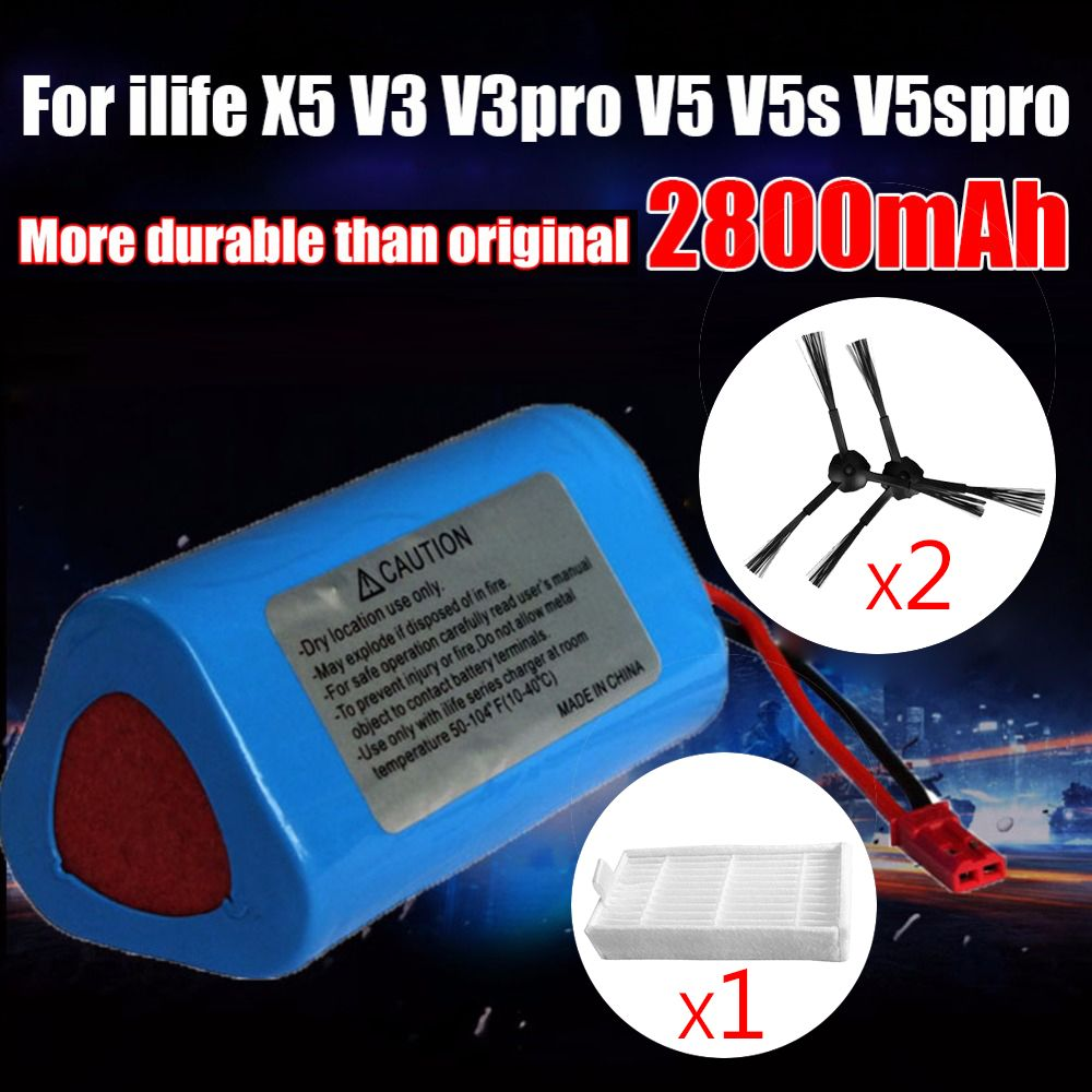 2800mAh Robot Vacuum cleaner Battery brush filter replacement parts for ecova ilife V1 V3 X3 V3 V5 X5 V5PRO V5S V7 CW310 CEN250