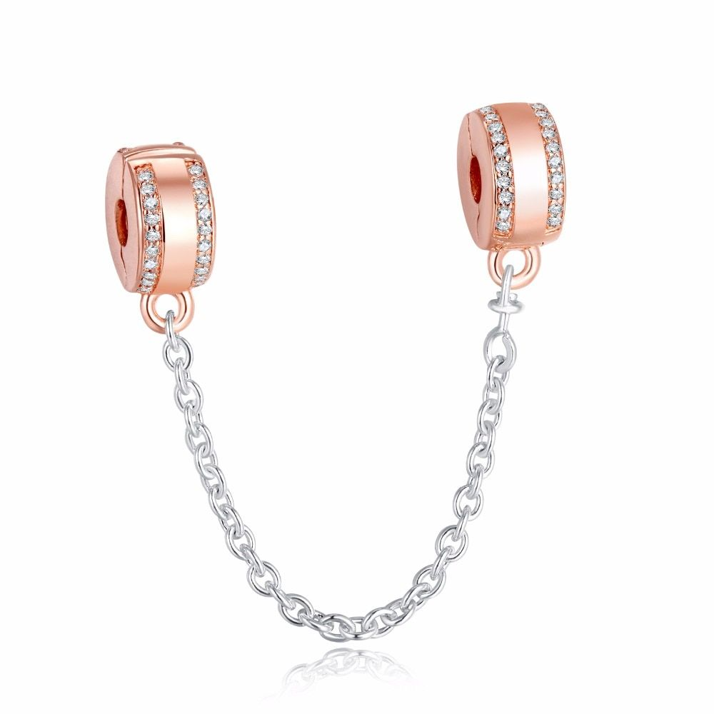 Insignia Safety Chain Stopper Signature Crystal Charms for Jewelry Making 2018 New Rose Golden Charms Girl DIY Jewelry