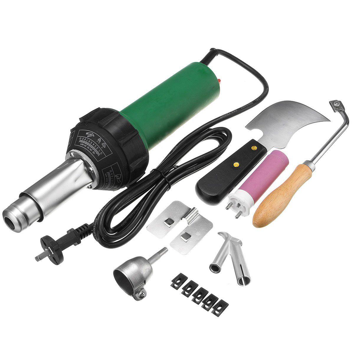 JIGUOOR 220V 1500W Heat Gun Plastic PVC Floor Welding Torch Hot Air Blower With Accessories