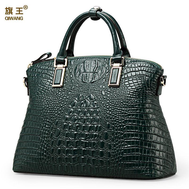Qiwang Аутентичные Для женщин крокодил сумка 100% Пояса из натуральной кожи Для женщин сумки Лидер продаж Tote Для женщин сумка большой бренд Сумк...