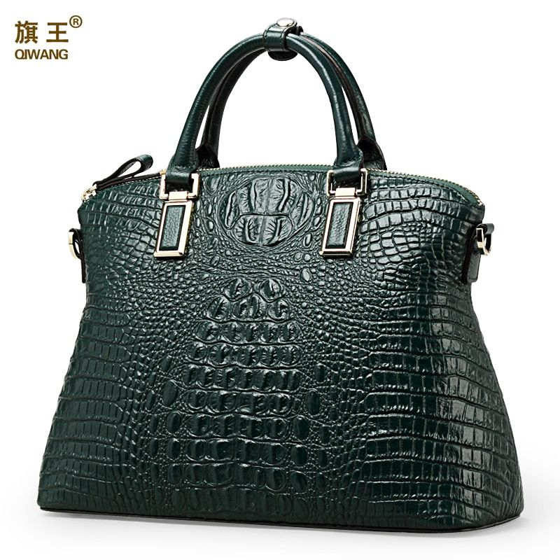 Qiwang Authentic Women Crocodile Bag 100% Genuine Leather Women Handbag Hot Selling Tote Women Bag Large Brand Bags <font><b>Luxury</b></font>