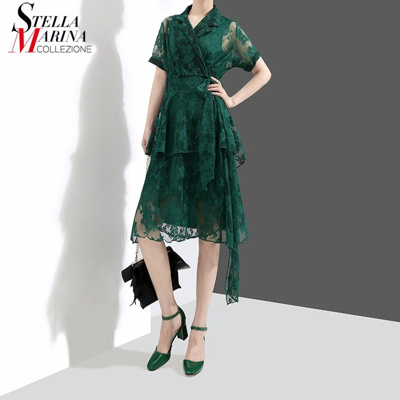 New 2018 Women Summer Clothes Two Pieces Set Green Black Dress Notched Collar A-line Knee Length Female Elegant Dress Style 3625