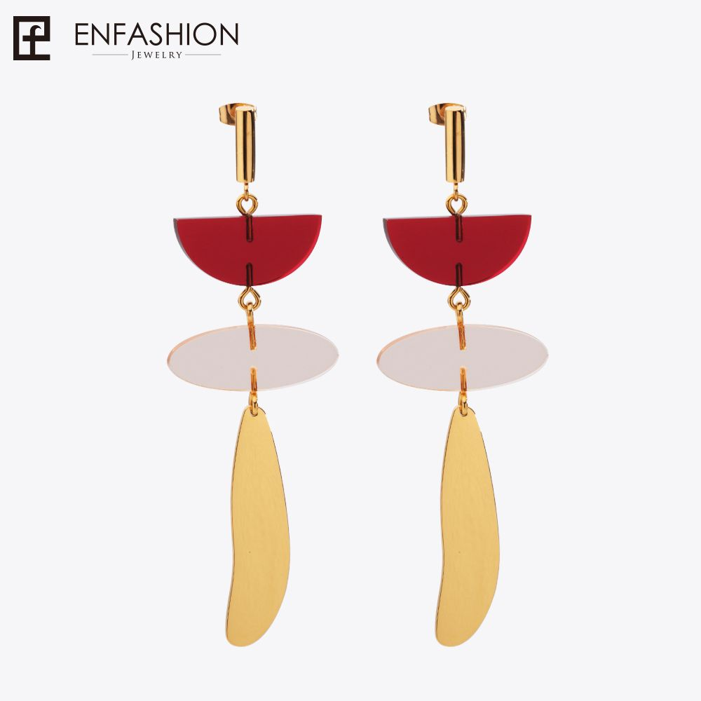 Enfashion Colorful Geometric Resin Dangle Earrings Gold color Earings Drop Earrings For Women Long Earring Jewelry brinco