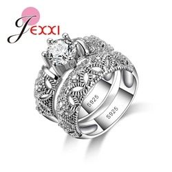 Jemmin Fashion 925 Sterling Silver Rings for Women Anniversary Love Ring White Gold Hollow Engagement Female Ring Sets Jewelry