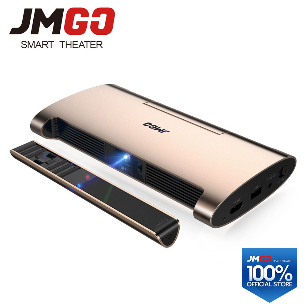 JMGO Portable Android 7.0 Projector M6. 200 ANSI Lumens, Support 4k, 1080P Decode. Set in WIFI, Bluetooth, HDMI, USB, Laser Pen