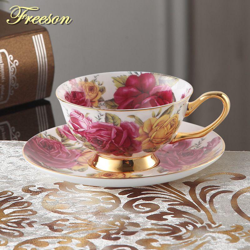 Pastorale Rose os chine thé tasse soucoupe cuillère ensemble 200 ml Europe avancé porcelaine café tasse en céramique Floral tasse à thé