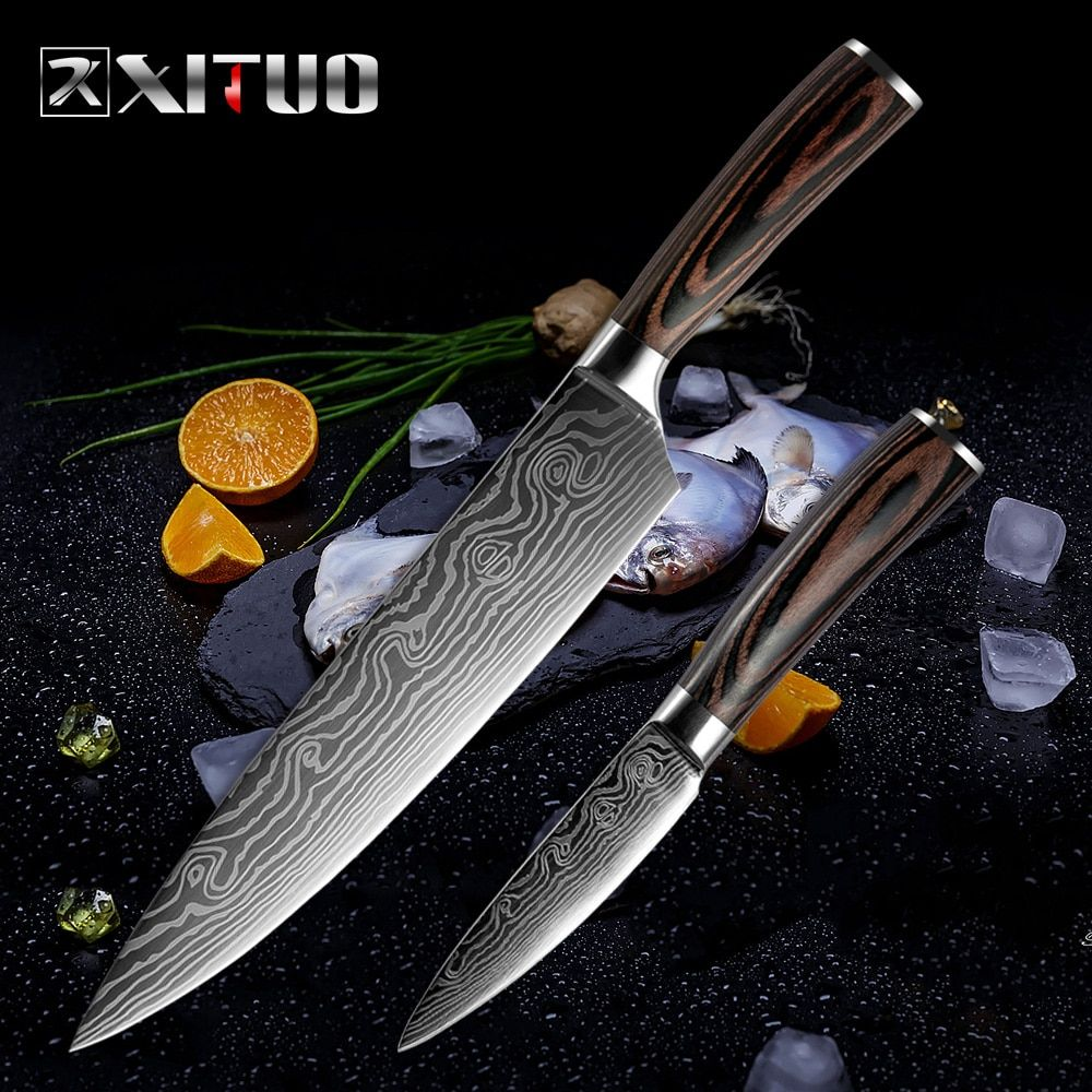 XITUO meilleur 2 pièces ensemble de couteaux de cuisine en acier Damas Japonais Motif couteau ensembles Couperet D'office Santoku Trancheuse outils utilitaires