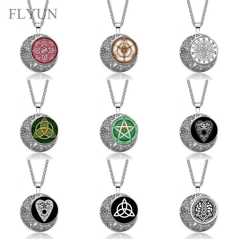 Viking Odins Lune Pendentif En Verre Collier, Ouija Conseil/WICCA Triangle/Sceau, Bijoux De Mode Cadeau De Noël Pour Femmes Hommes