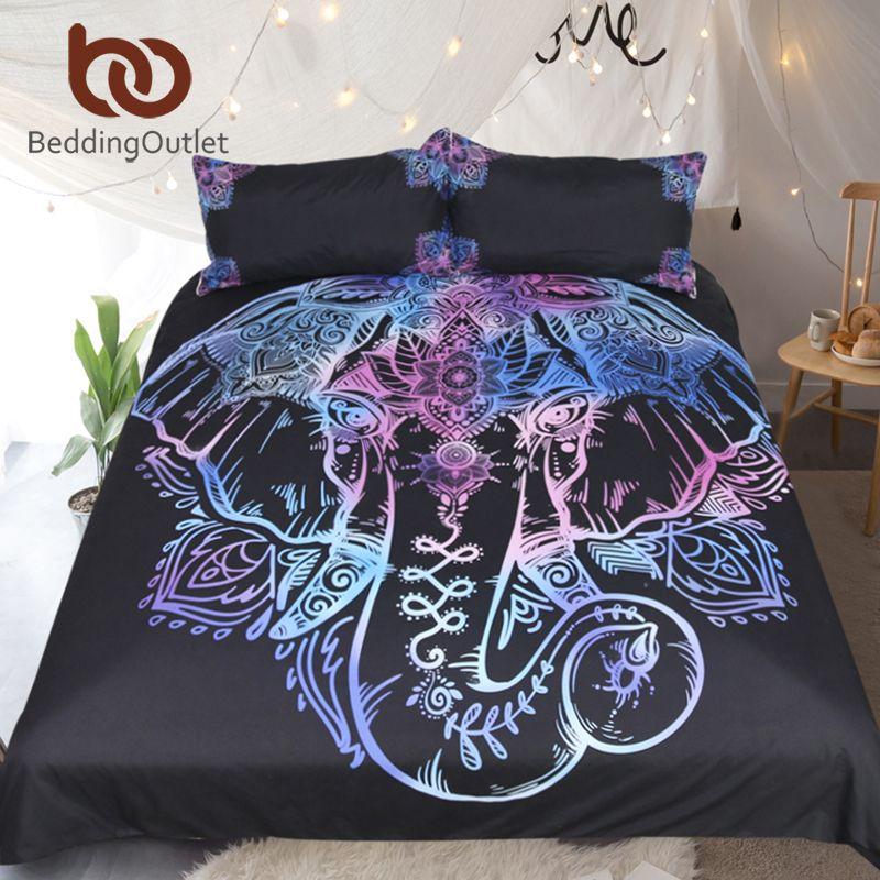 BeddingOutlet Bohemian Elephant Bedding Set Single Queen Size Duvet Cover Lotus Flower Bed Cover Set Microfiber Bedclothes 3pcs