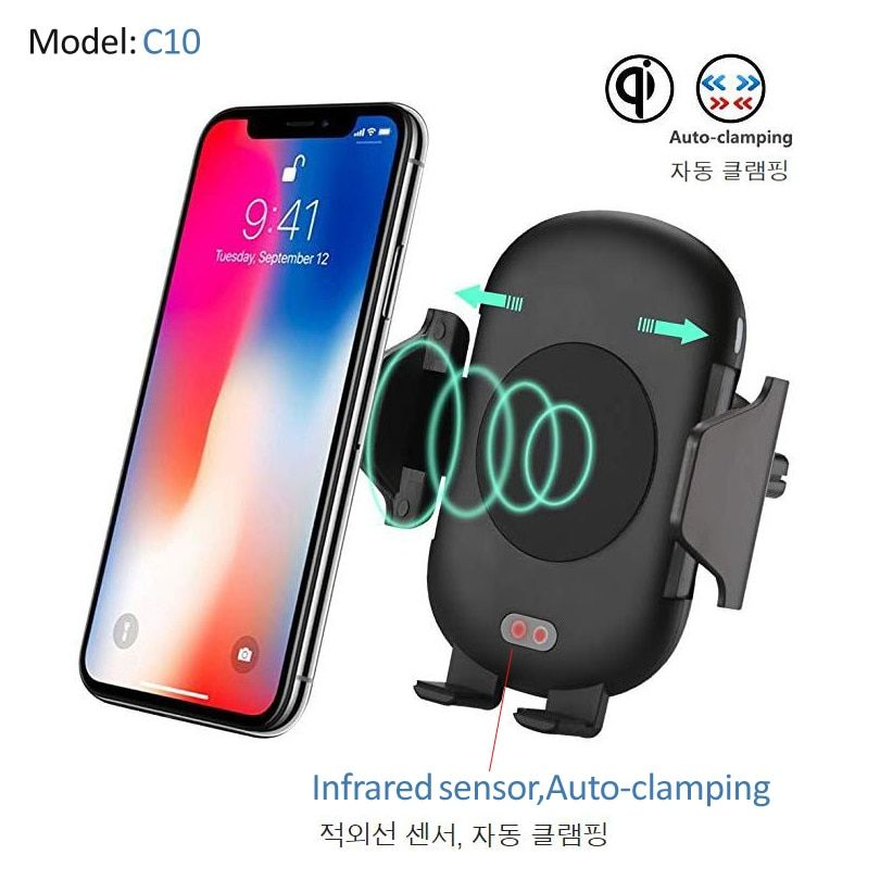 Car Mount Qi Wireless car Charger Car Holder Stand For iPhone X 8 Plus Quick Fast Charge Wireless Charging Pad for Samsung S9 S8