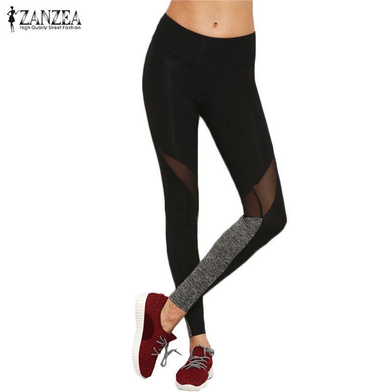 ZANZEA 2017 Women Casual Plain Color Block Leggings Spring Fitness Elastic Waist Mesh Insert Patchwork Leggings Plus 5XL