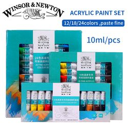 Winsor & Newton Professionnel Acrylique Peintures Set 12/18/24 Couleurs 10 ML Peint À La Main Mur Dessin Peinture Pigment Ensemble Art Fournitures
