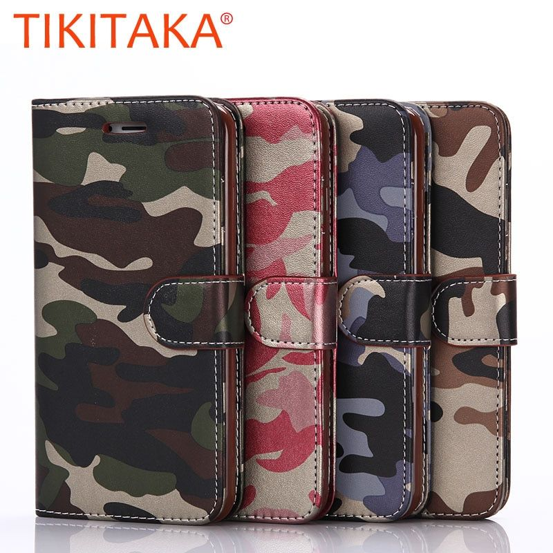 Coque for iPhone 5 5S SE 6S 7 6 Plus Case Luxury Army Camo Leather Flip phone Pouch Card Holder back Cover for iPhone 5 5S SE