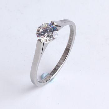 free shipping 1MM wide silver clip zircon 316l Stainless Steel finger rings for women wholesale