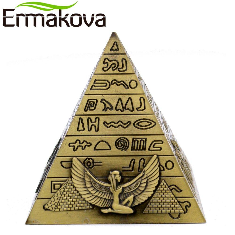 ERMAKOVA métal pyramides égyptiennes Figurine pyramide bâtiment Statue maison bureau bureau décoration cadeau Souvenir (Bronze)