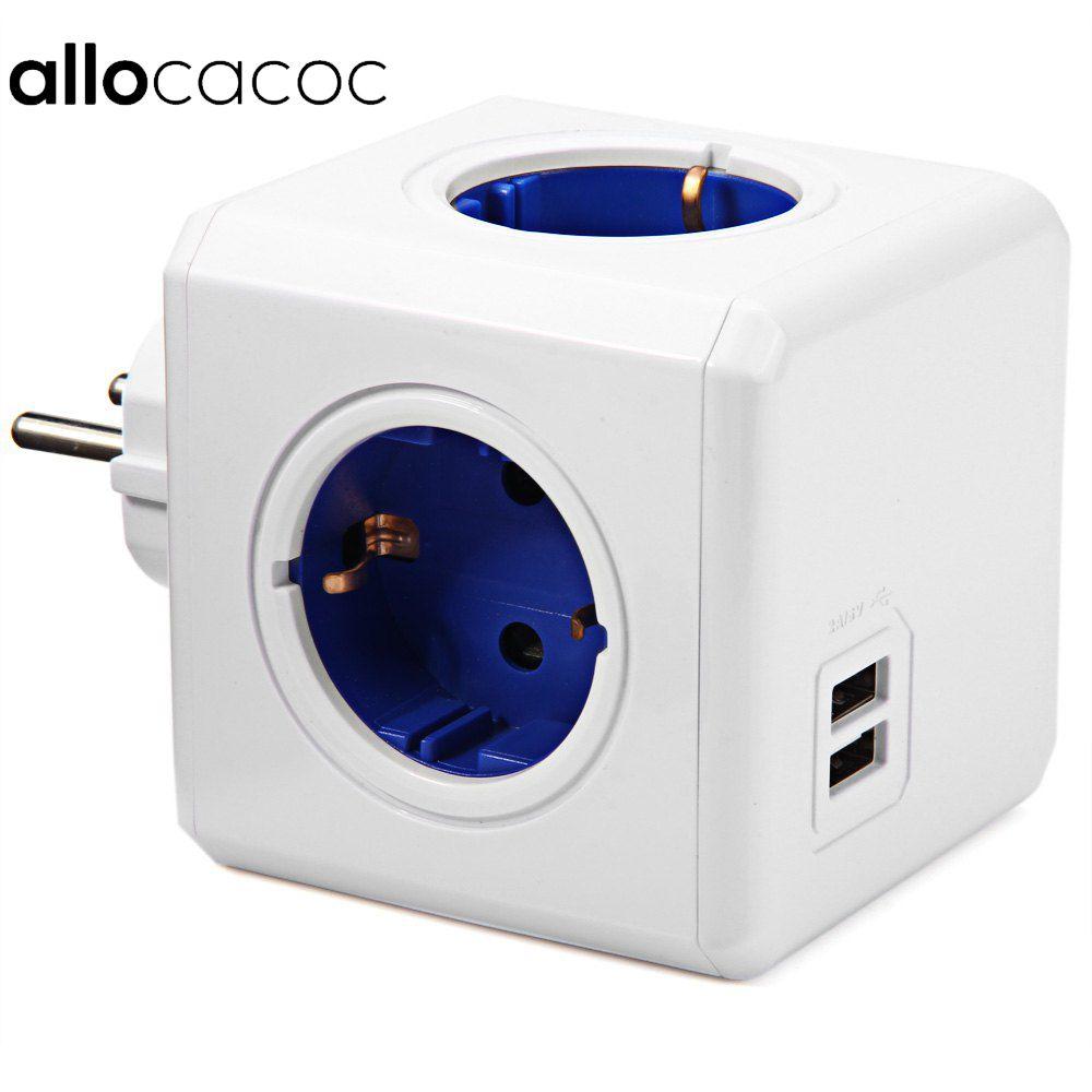 Allocacoc Maison Intelligente Cube Socket UE Plug 4 Sorties 2 USB Ports Adaptateur Power Strip Extension Adaptateur Multi Switched Socket