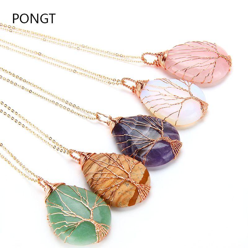 Naturel violet Quartz Opale Pierre Pendentifs rose faite main Or Couleur Arbre de Vie Enveloppé En Forme de Goutte pendentif en cristal collier
