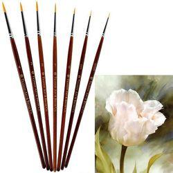 7 Pcs Professionnel Peinture Brosse Ensemble Sable Cheveux Détail 7 Miniature Acrylique Brosses À Ongles Art Peinture Dessin Brosses Stylo