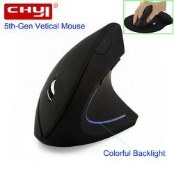CHYI ratón inalámbrico ergonómico óptico 2,4g 800/1200/1600 dpi luz colorida muñeca curación Vertical ratones con mouse Pad para PC