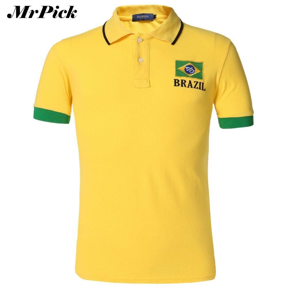 2015 sommer Männer Polo Shirt Flagge Stil Schwarz Gelb Weiß Plus Größe stickerei Atmungsaktive Baumwolle Polo Shirts E5036