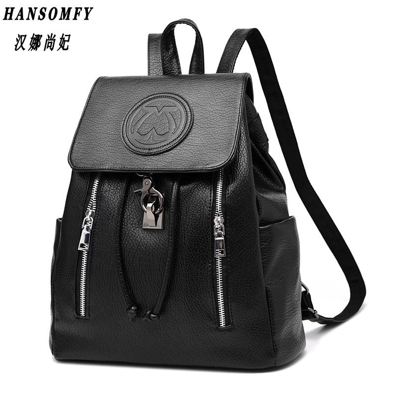 100% Genuine leather Women backpack 2018 New female backpack spring and summer fashion casual Korean embossed