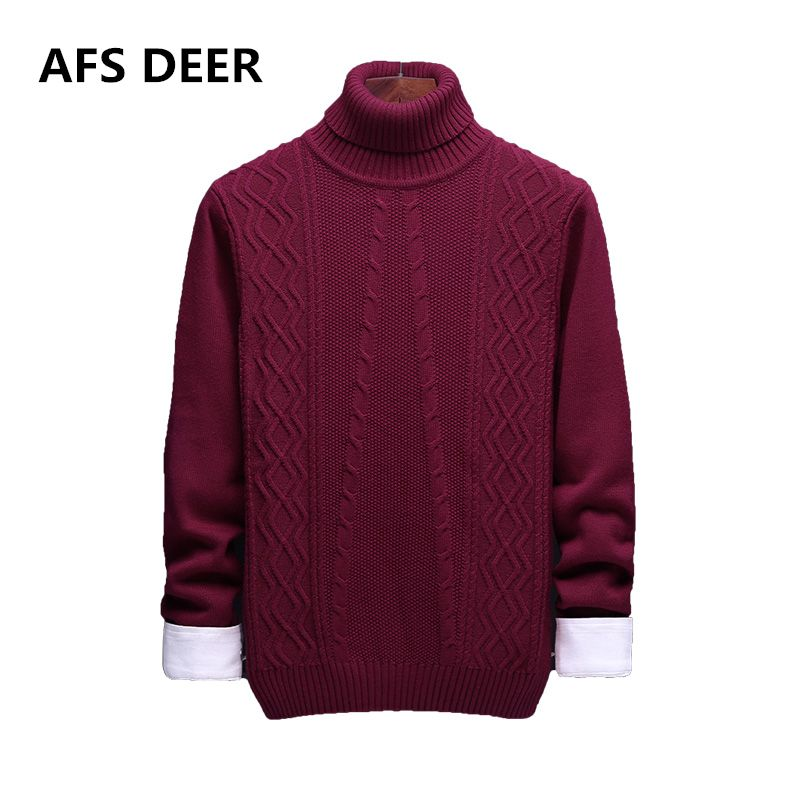 2017 Brand Winter Top Quality 100% Cotton Turtleneck Men Solid Men Sweaters Thick Slim Fit Sweater Men Pull Homme Sudaderas Male