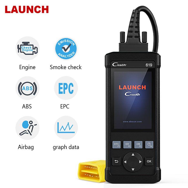Launch OBD2 Scanner CR619 Engine ABS SRS O2 Sensor Monitoring Creader Tool ODB2 Car Diangostic Tool OBD2 Automotive Scanner