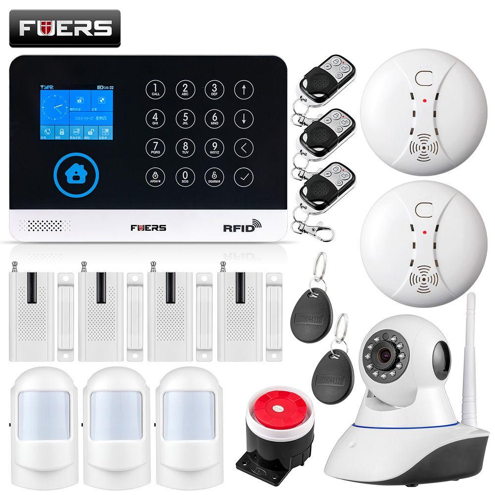 FUERS WG11 WIFI GSM Wireless Home Business Burglar Security Alarm System APP Control Siren RFID Motion Detector PIR Smoke Sensor