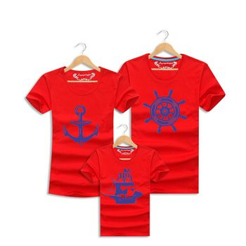 Mom and Daughter Matching Clothes Sailor Family Outfits T-shirt Summer Baby Mother Father Son Short Sleeve Print Tee Kid Costume