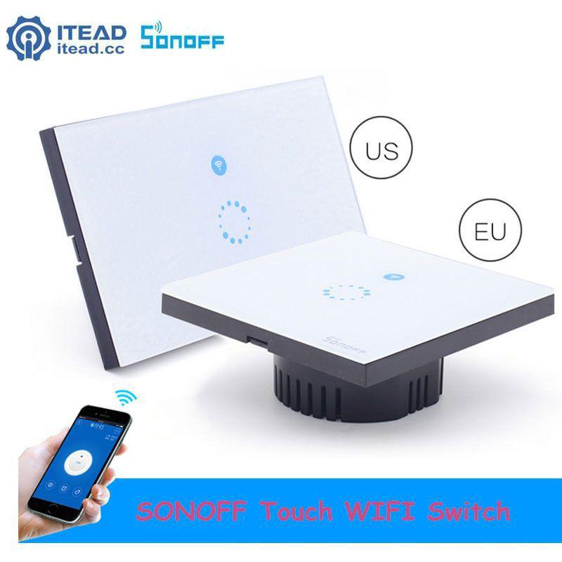 Ue/US Itead Sonoff Touch WIFI interrupteur panneau en verre cristal 1 Gang 1 voie intelligent sans fil calendrier interrupteur ampoule murale 2A 400 W
