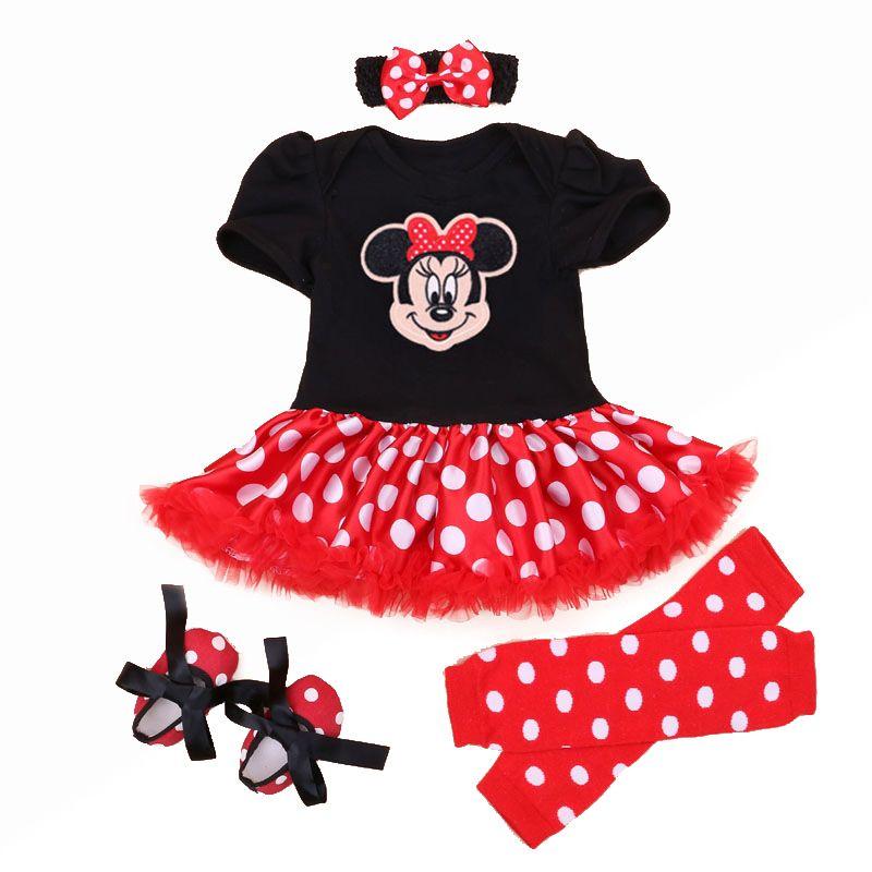 Vestido de navidad 2018 Recién Nacido Minnie 4 unids/set Niñas Bebés Ropa de la Muchacha Del Niño Ropa Infantil Minnie Mouse Costume Regalos de Navidad