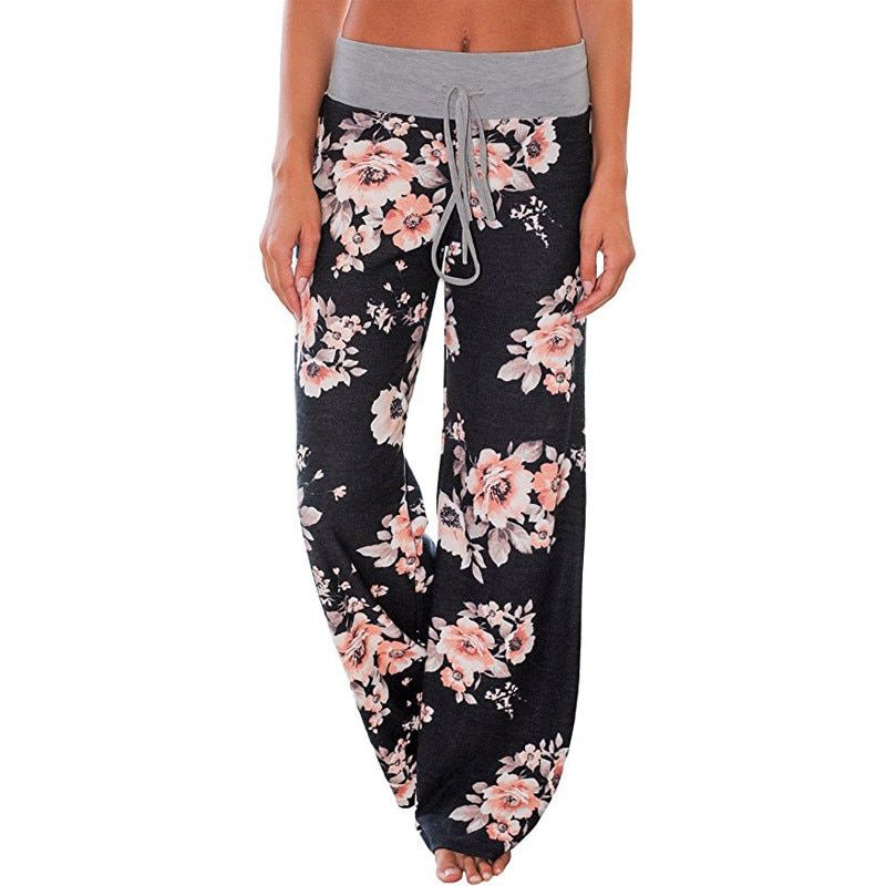 Women Loose Floral Print 2018 <font><b>Wide</b></font> Leg Pants Loose Mid Waist Straight Trousers Long Female Trousers Fashion Sweatpants Bottoms